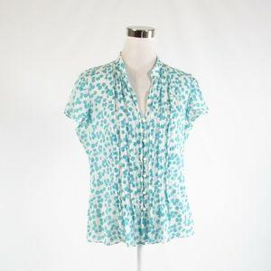 White blue BANANA REPUBLIC cap sleeve blouse L